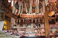 Ham in a delicatessen shop, Norcineria Falorni, Greve, Chianti, Tuscany, Italy, Europe