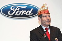 Bernhard Mattes, CEO of Ford-Werke GmbH, Ford Motor Company, wearing a jester's hat at Carnival, Cologne, North Rhine-Westphalia, Germany, Europe