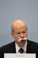 Dieter Zetsche, CEO of Daimler AG, seated on the podium at the annual press conference, Stuttgart, Baden-Wuerttemberg, Germany, Europe