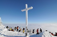 Summit cross of Mt. Unterberg, 1342m, Lower Austria, Austria, Europe