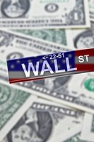 Symbolic image for the stock market and Wall Street, New York, USA