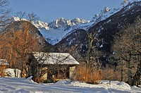 Cascine, huts for drying chestnuts, Soglio, Bregaglia, Grisons, Switzerland, Europe
