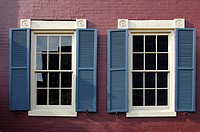 Windows of a historical brick house in the Red Lion Row, historic row houses from the 19th century in Foggy Bottom, Washington, D C , USA