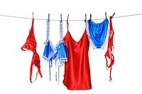 Blue and red lingerie hanging