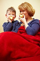 Together eating apple