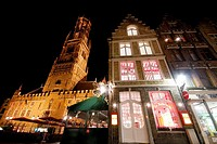 Belfort building and shop in Markt square of Bruges, Belgium