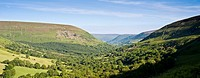 View south of northern section of Vale of Ewyas from near Gospel Pass, Brecon Beacons national park, Powys, Wales
