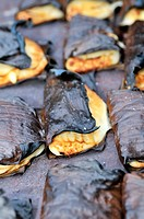 Traditional dumplings, empanadas, wrapped in banana leaves, San Ignacio, Chiquitania, Santa Cruz Department, Bolivia, South America