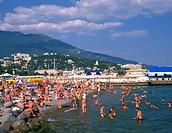 The Ukraine, the Crimea, beach with Jalta
