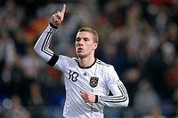Lukas Podolski has dedicated his goal to make it 1_0 to the late Robert Enke, soccer friendly game, Germany _ Ivory Coast 2_2 at the Veltins_Arena in ...