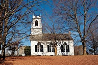 Quaint autumn church, Weston, VT, Vermont, USA