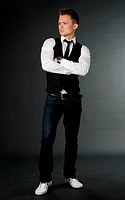 attractive businessman in black waistcoat