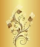 Illustration spring grunge flower and leaf green