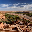 Overview of the Ounila River Valley from the top of Ait Benhaddou near Ouarzazate Morocco
