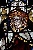 A 16th century stained glass window depicting a king, possibly St Edmund or St Edward the Confessor, Battlefield Church, Shropshire, The glass was ori...