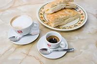 Focaccia, bread, cappuccino, espresso, Bolgheri, Tuscany, Italy, Europe