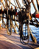 Heavy Ropes on Deck of Sailboat
