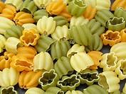 Italian pasta, tulips
