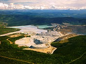 An aerial view of the large Fort Knox Gold Mine, just north of Fairbanks, Alaska. This open_pit gold mining operation is the largest of its kind in Al...