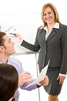 Image of businesswoman making report at working meeting