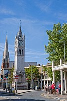 Milton Road with the town's clock tower, Gravesend, Kent, England, United Kingdom, Europe