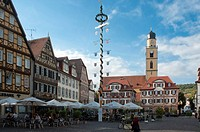 Market square with Zwillingshaeuser twin buildings, Bad Mergentheim, Baden_Wuerttemberg, Germany, Europe