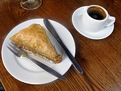 Greek Baklava and Coffee, Rethymnon Old Town Restaurant, Crete, Greece