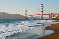 World famous Golden Gate Bridge with a scenic beach.