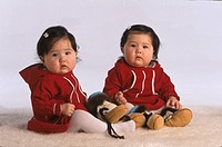 Yupik Eskimo Twins in Studio with various props, Anchorage, Southcentral Alaska