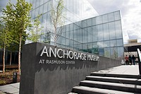 View of the Anchorage Museum at the Rasmuson Center and sign, downtown Anchorage, Southcentral Alaska, Summer
