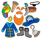 Pirate clothes collection _ isolated illustration.