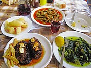 Greek Cuisine  Fresh Eggplants in Tomato sauce, Green Beans and Vleeta Stamnagathi Wild Greens