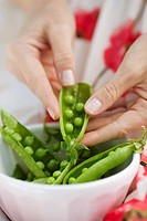 Woman splitting fresh peas