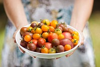 Woman holding large bowl of tomatoes
