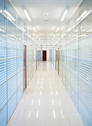 Glass office hallway