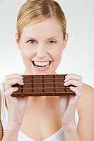 portrait of woman with chocolate