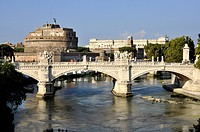 Ponte Vittorio Emanuele II bridge, Tiber River, Castel Sant'Angelo, Castle of Angels, Rome, Lazio, Italy, Europe