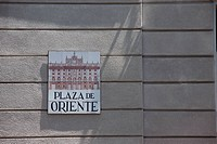 Street sign, Plaza de Oriente, Madrid, Spain