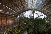Interior of Estacion de Atocha, train station, Madrid, Spain