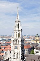 Clock tower of Munich town hall, Munich, Bavaria, Germany