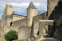 Medieval walled fortress city of Carcassonne, Aude, Languedoc_Roussillon, France, Europe