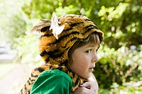 Boy dressed up as tiger (thumbnail)