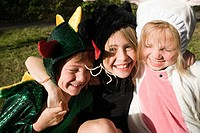 Three children in fancy dress costume