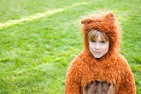 Boy dressed up as bear