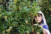 Girl wearing cape with hood hiding in bushes