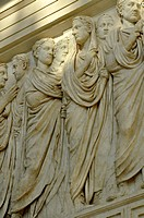 Relief frieze procession, ruling family, senators, peace altar Ara Pacis Augustae, north side, Rome, Lazio, Italy, Europe