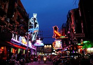 Neon signs of night clubs, Thailand, Asia