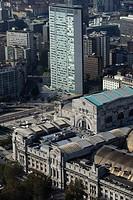 Italy, Lombardy, Milan, Piazza della Stazione Centrale, aerial view...