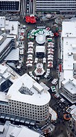 Aerial view, Sparkasse Bochum bank, city savings bank, Christmas market, Bochum, Ruhrgebiet region, North Rhine-Westphalia, Germany, Europe