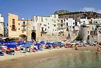 Italy, Sicily, Cefalu, beach...